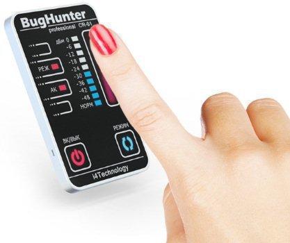 """Сенсорное управление и TOUCH-панель детектора жучков BugHunter CR-1 """"Карточка"""" сразу выделяют его среди всей массы приборов аналогичного назначения"""