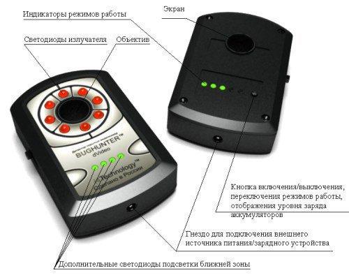 Основные органы управления детектора скрытых камер
