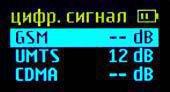 Информация на дисплее детектора в режиме мониторинга цифровых сигналов